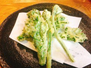 季節の天ぷら 菜の花とこごみ